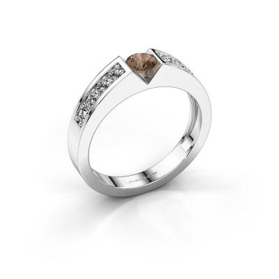 Engagement ring Lizzy 2 585 white gold brown diamond 0.30 crt