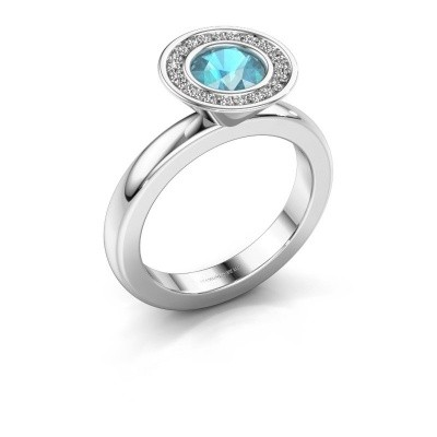 Stapelring Danille 925 zilver blauw topaas 6 mm