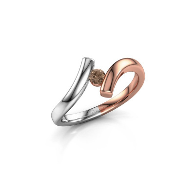 Foto van Ring Amy 585 rosé goud bruine diamant 0.10 crt