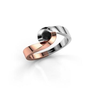 Foto van Verlovingsring Sheryl 585 rosé goud zwarte diamant 0.24 crt