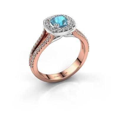 Engagement ring Carolina 2 585 rose gold blue topaz 5 mm