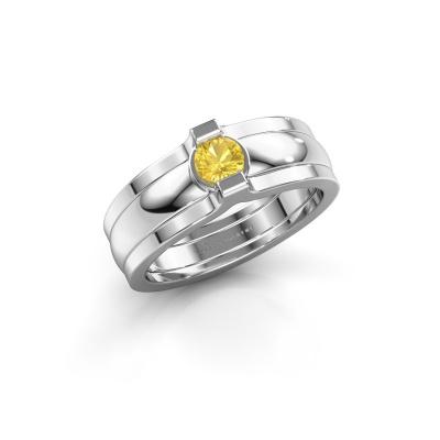 Ring Jade 925 Silber Gelb Saphir 4 mm
