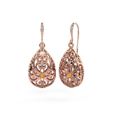 Picture of Drop earrings Idalia 2 375 rose gold citrin 2 mm