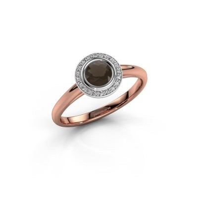Promise ring Noud 1 RND 585 rosé goud rookkwarts 4.7 mm