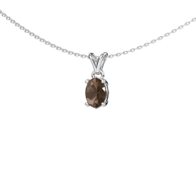 Ketting Lucy 1 585 witgoud rookkwarts 7x5 mm