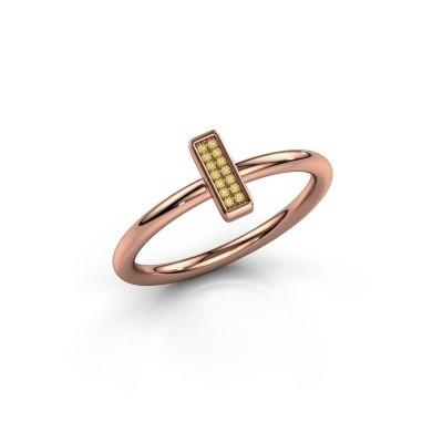 Ring Shape stripe small 375 rosé goud gele saffier 0.8 mm