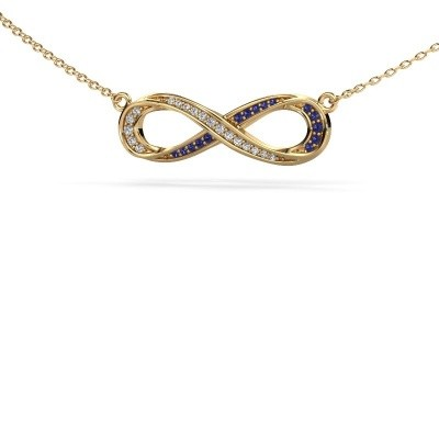 Halskette Infinity 2 375 Gold Saphir 0.8 mm