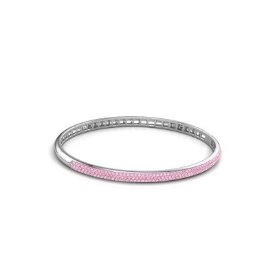Photo de Bracelet jonc Emely 4mm 585 or blanc saphir rose 1.1 mm