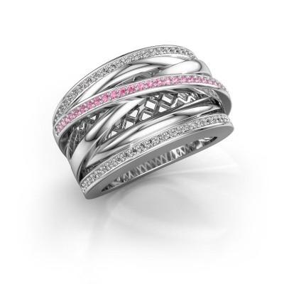 Foto van Ring Tabita 925 zilver roze saffier 1 mm