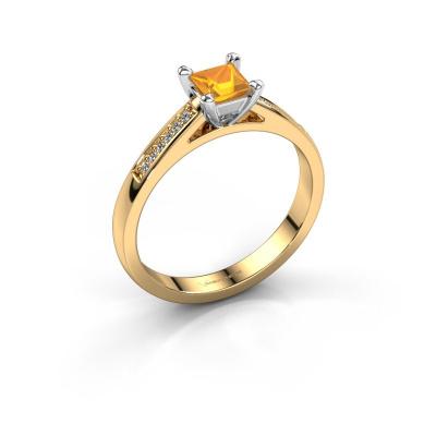 Engagement ring Nynke SQR 585 gold citrin 4 mm