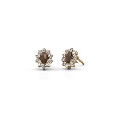 Earrings Leesa 375 gold smokey quartz 6x4 mm