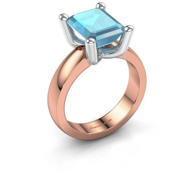 Ring Clelia EME 585 rosé goud blauw topaas 10x8 mm