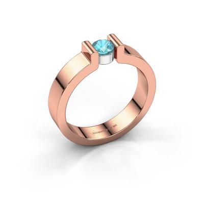 Verlovingsring Isabel 1 585 rosé goud blauw topaas 4 mm