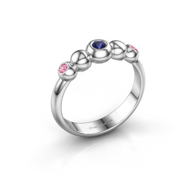 Stackable ring Lily 925 silver sapphire 2.5 mm
