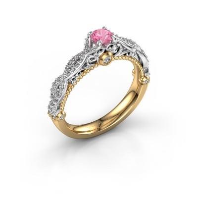 Verlovingsring Chantelle 585 goud roze saffier 4 mm