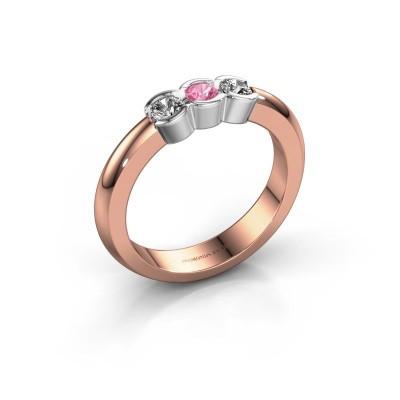 Foto van Verlovingsring Lotte 3 585 rosé goud roze saffier 3 mm