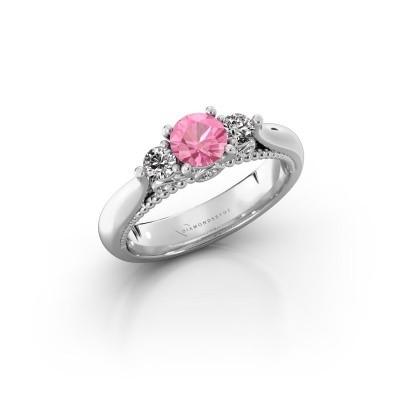 Verlovingsring Tiffani 925 zilver roze saffier 5 mm