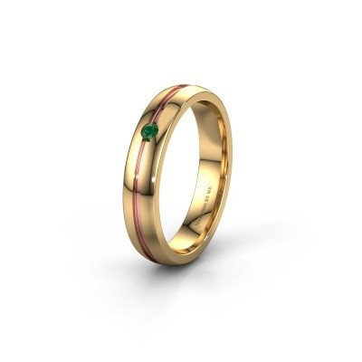 Wedding ring WH0424L24A 585 gold emerald ±4x1.7 mm