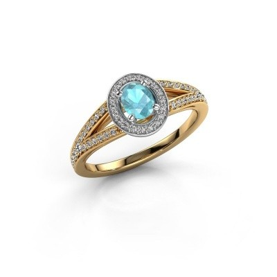 Verlovings ring Angelita OVL 585 goud blauw topaas 6x4 mm