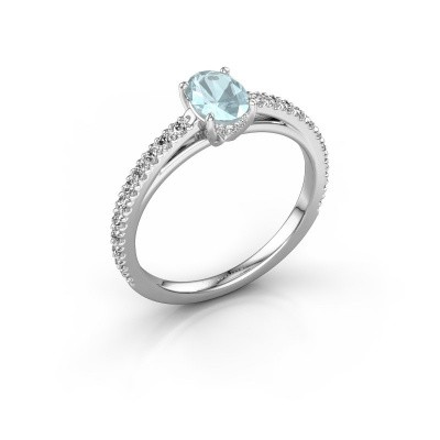 Picture of Engagement ring Haley OVL 2 950 platinum aquamarine 6.5x4.5 mm