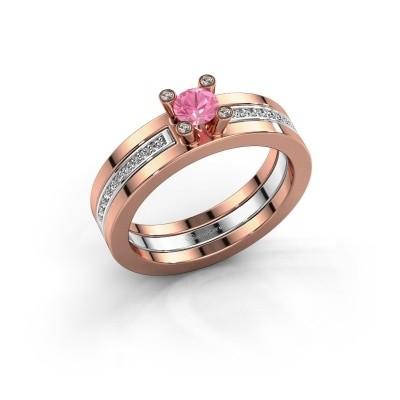 Foto van Ring Alisha 585 rosé goud roze saffier 4 mm