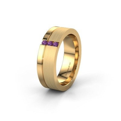 Wedding ring WH0327L16B 585 gold amethyst ±0.24x0.08 in