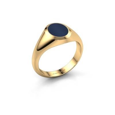 Foto van Pinkring Herman 1 585 goud donker blauw lagensteen 10x8 mm