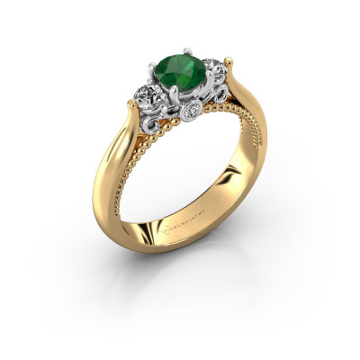 Foto van Verlovingsring Tiffani 585 goud smaragd 5 mm
