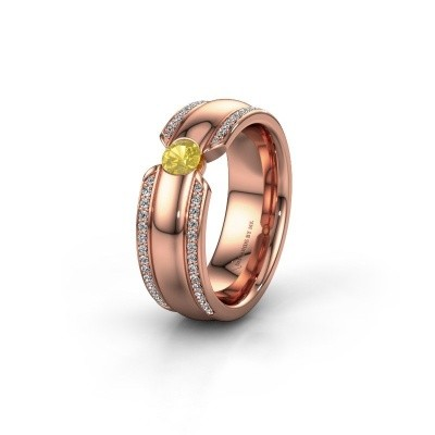 Wedding ring WHR0575L 375 rose gold yellow sapphire ±0.28x0.08 in