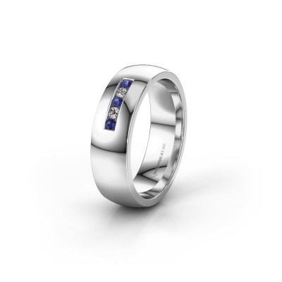 Wedding ring WH0107L26BP 925 silver sapphire ±6x2 mm