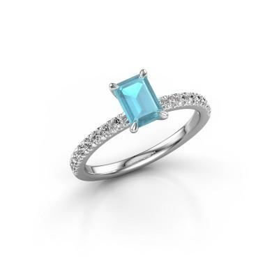 Foto van Verlovingsring Crystal EME 2 585 witgoud blauw topaas 6.5x4.5 mm