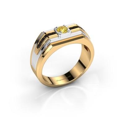 Foto van Heren ring Oliver 585 goud gele saffier 4 mm