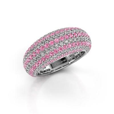 Foto van Ring Lyndia 950 platina roze saffier 0.8 mm