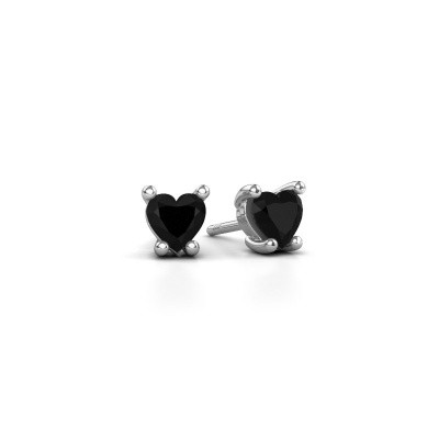Foto van Oorbellen Sam Heart 950 platina zwarte diamant 0.60 crt