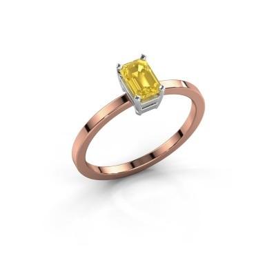 Verlovingsring Denita 1 585 rosé goud gele saffier 6x4 mm