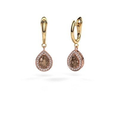 Drop earrings Ginger 1 585 rose gold brown diamond 1.52 crt