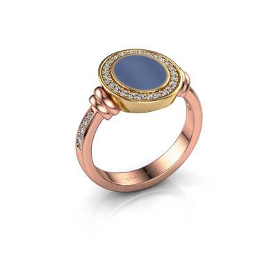 Signet ring Bailey 585 rose gold blue sardonyx 10x8 mm