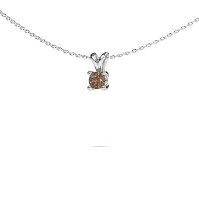 Foto van Ketting Sam round 585 witgoud bruine diamant 0.30 crt