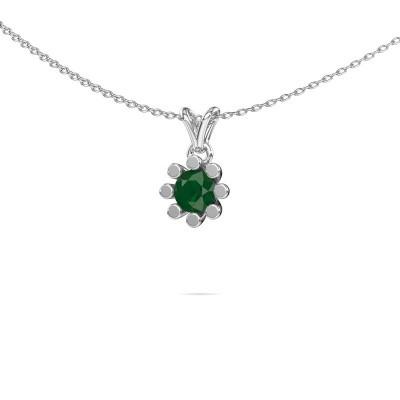 Foto van Hanger Carola 1 375 witgoud smaragd 5 mm