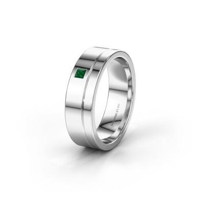 Trouwring WH0301L16APSQ 585 witgoud smaragd ±6x1.7 mm