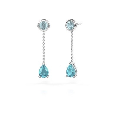 Picture of Drop earrings Laurie 3 585 white gold blue topaz 7x5 mm