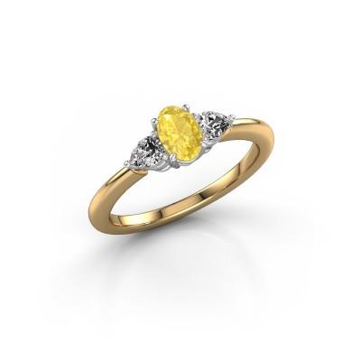 Foto van Verlovingsring Chanou OVL 585 goud gele saffier 6x4 mm