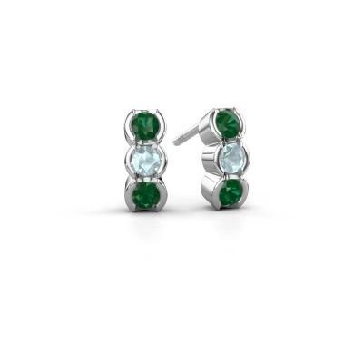 Foto van Oorbellen Lotte 585 witgoud smaragd 3 mm