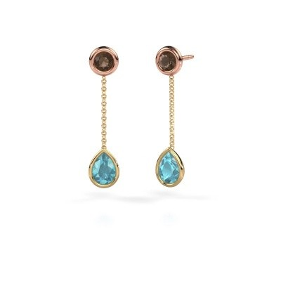 Picture of Drop earrings Ladawn 585 gold blue topaz 7x5 mm