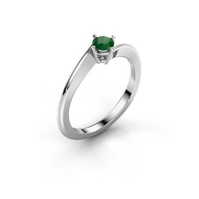 Foto van Verlovingsring Ingrid 950 platina smaragd 4 mm