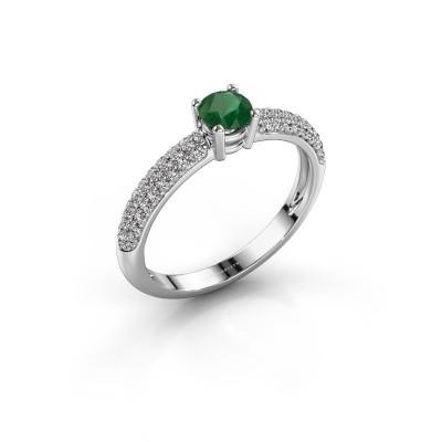 Foto van Verlovingsring Marjan 585 witgoud smaragd 4.2 mm