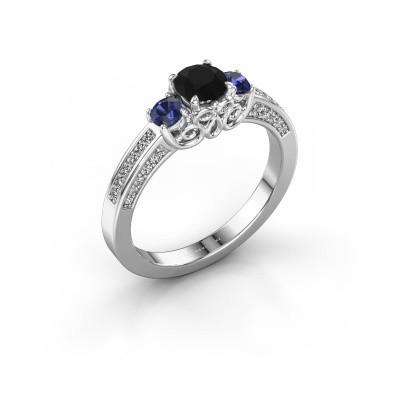 Foto van Verlovingsring Donna 585 witgoud zwarte diamant 0.787 crt