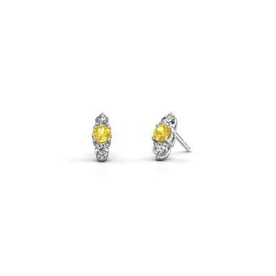 Oorbellen Amie 925 zilver gele saffier 4 mm