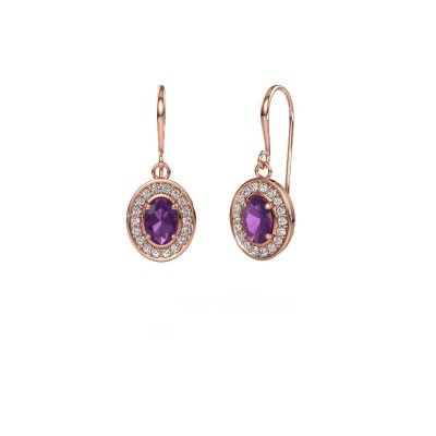 Drop earrings Layne 1 375 rose gold amethyst 6.5x4.5 mm