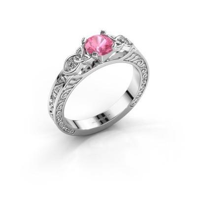 Foto van Verlovingsring Gillian 950 platina roze saffier 5 mm